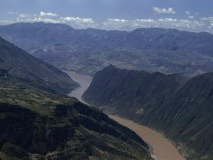 Steep Cliffs Loom over Yangtze River at Western End of Wushan Gorge by W. Robert Moore