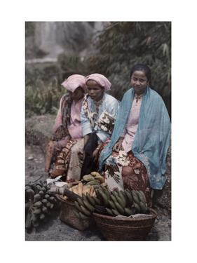 Three Women Traders Sit by their Baskets of Fruits and Vegetables by W. Robert Moore