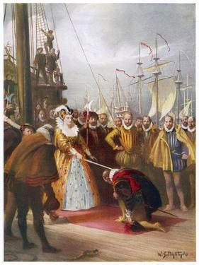 """Queen Elizabeth I Knights Francis Drake on His Ship """"Golden Hind"""" after His Round the World Voyage by W.s. Bagdatopulos"""