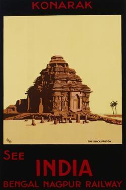 See India - Bengal Nagpur Railways, Konaruk, the Black Pagoda Poster by W.S Bylityllis