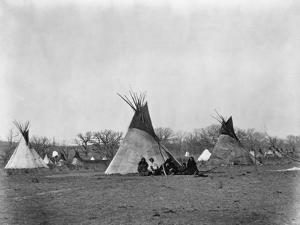 A Native American Family Sits Outside their Teepee by W.S. Soule