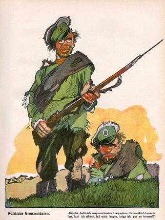 German Caricature of Russian Soldiers, WW1