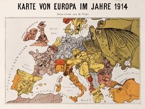Satirical Map - Karte Von Europa Im Jahre 1914 by W. Trier