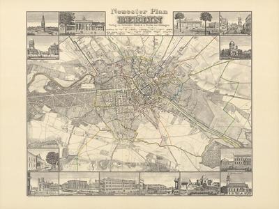 Historical Map of Berlin, Published by Verlag Von Gebrueder Rocca, Berlin 1838