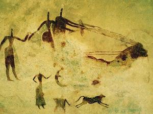Wagon and Human Figures, Cave Painting, Tassili N'Ajjer