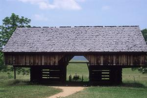Wagon in a Cantilevered Barn, Cades Cove, Great Smoky Mountains National Park, Tennessee