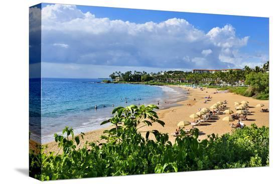 Wailea Beach at the Four Seasons Hotel, Wailea, Island of Maui, Hawaii, USA--Stretched Canvas Print