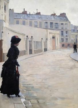Waiting, Rue De Chateaubriand in Paris by Jean Beraud