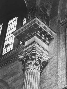 Ornate Classical Corinthian Column in Interior of Penn Station by Walker Evans