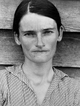 Portrait of a Solemn Annie Mae Gudger, Sharecropper's Wife, in Hale County