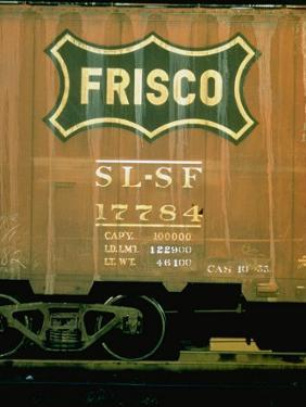 Railroad Box Car Showing the Logo of the Frisco Railroad by Walker Evans