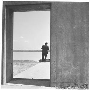 Section of Twelve Foot, Three Mile Concrete Wall with Bulkhead Opening by Walker Evans