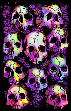Wall of Skulls Blacklight Art Poster Print
