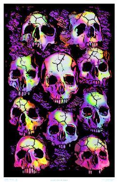 Wall of Skulls Blacklight Art Poster Print