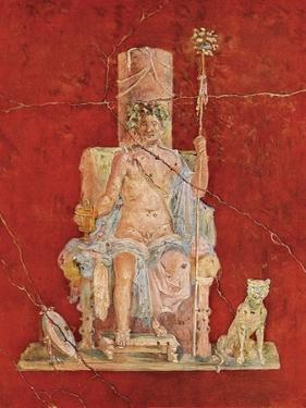 Wall Painting of the Roman Deity Dionysus on His Throne, from the Ruins of Pompeii