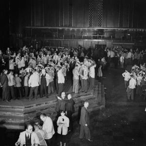 """Trading in the """"Grain Pit"""" at the Chicago Board of Trade by Wallace Kirkland"""