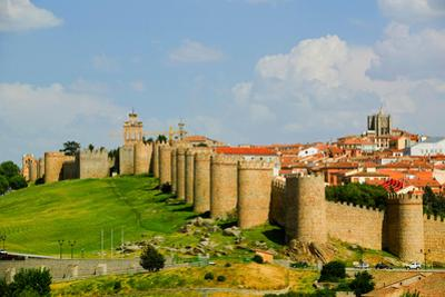Walled city from 1000 A.D. surrounds Avila Spain, an old Castilian Spanish village