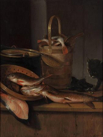 Still Life with Fish and a Cat, C. 1650-1660