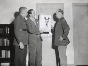 Walt Disney Showing a Sketch of Mickey Mouse Gas Mask to Chemical Warfare Officer