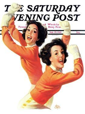 """""""Twin Cheerleaders,"""" Saturday Evening Post Cover, September 28, 1940 by Walt Otto"""