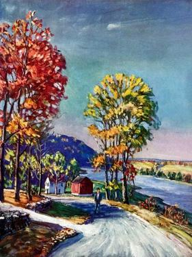 """Walking on Country Road,""October 1, 1939 by Walter Baum"