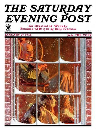 """""""By the Fire,"""" Saturday Evening Post Cover, January 27, 1934"""