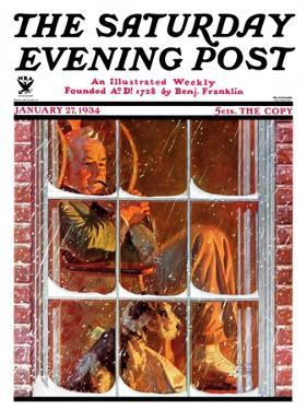 """""""By the Fire,"""" Saturday Evening Post Cover, January 27, 1934 by Walter Beach Humphrey"""