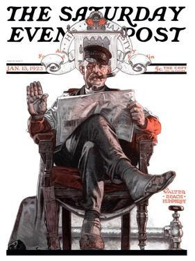 """""""His Majesty the Janitor,"""" Saturday Evening Post Cover, January 13, 1923 by Walter Beach Humphrey"""