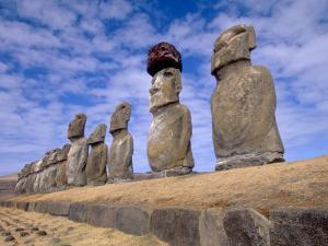 15 Moais at Ahu Tongariki, Easter Island, Chile by Walter Bibikow