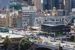 Australia, Victoria, Melbourne, Federation Square, Elevated View by Walter Bibikow