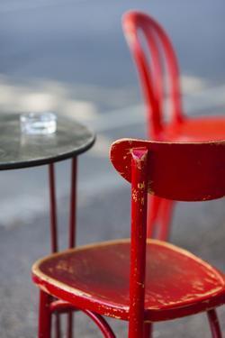Australia, Victoria, Melbourne, Fitzroy, Gertrude Street, Cafe Table by Walter Bibikow