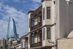 Azerbaijan, Baku. Old City and Flame Towers by Walter Bibikow