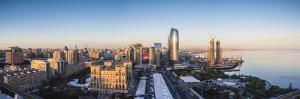 Azerbaijan, Baku. Skyline with Dom Soviet Government House. by Walter Bibikow