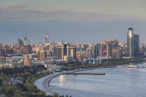Azerbaijan, Baku. View of city skyline from the west. by Walter Bibikow