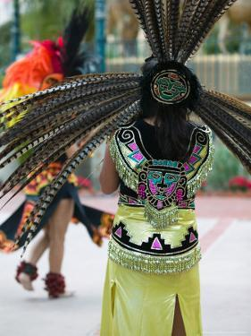 Aztec Indian Dancer, El Pueblo de Los Angeles, Los Angeles, California, USA by Walter Bibikow