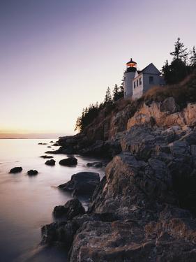 Bass Harbor Head Lighthouse at Dusk, Mount Desert Island, Maine, USA by Walter Bibikow