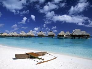 Beach at Bora Bora Nui Resort, Bora Bora, French Polynesia by Walter Bibikow