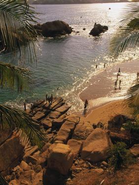 Beach, Playa Hornitos, Acapulco, Mexico by Walter Bibikow