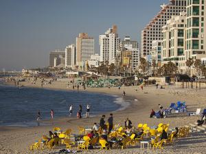 Beachfront Hotels in Late Afternoon, Tel Aviv, Israel by Walter Bibikow