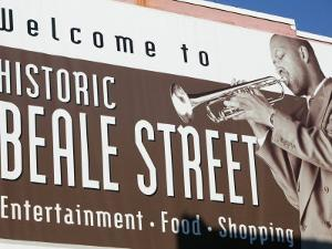 Beale Street Sign, Beale Street Entertainment Area, Memphis, Tennessee, USA by Walter Bibikow