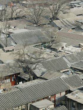 Beijing, Dongcheng District, Rooftop View of Traditional Beijing Hutong Area from Old Drum Tower by Walter Bibikow