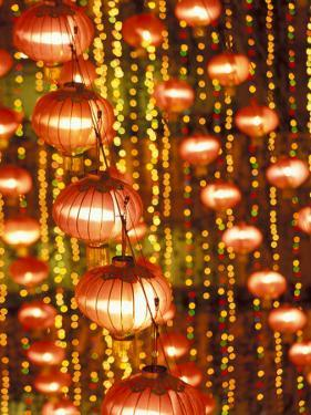 Beijing Hotel Lobby and Red Chinese Lanterns, China by Walter Bibikow