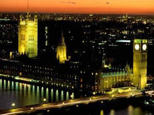 Big Ben and the Houses of Parliament at Dusk, London, England by Walter Bibikow