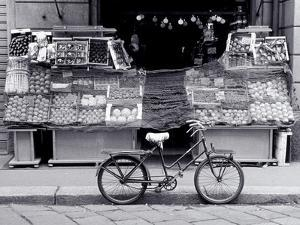 Bike Parked in Front of Fruit Stand, Lombardia, Milan, Italy by Walter Bibikow
