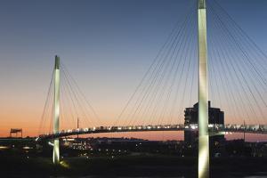 Bob Kerrey Pedestrian Bridge, Missouri River, Omaha, Nebraska, USA by Walter Bibikow