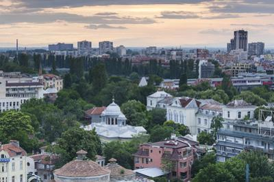 Bulgaria, Southern Mountains, Plovdiv, View from Nebet Tepe Hill, Dusk