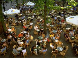Cafe Overview, Leidseplein, Amsterdam, Holland by Walter Bibikow