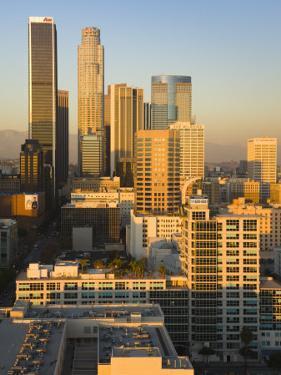 California, Los Angeles, Aerial View of Downtown from West 11th Street, Sunset, USA by Walter Bibikow