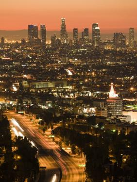 California, Los Angeles, Downtown and Hollywood Freeway 101 from Hollywood Bowl Overlook, USA by Walter Bibikow