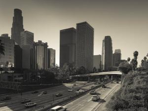 California, Los Angeles, Downtown and Rt, 110 Harbor Freeway, USA by Walter Bibikow